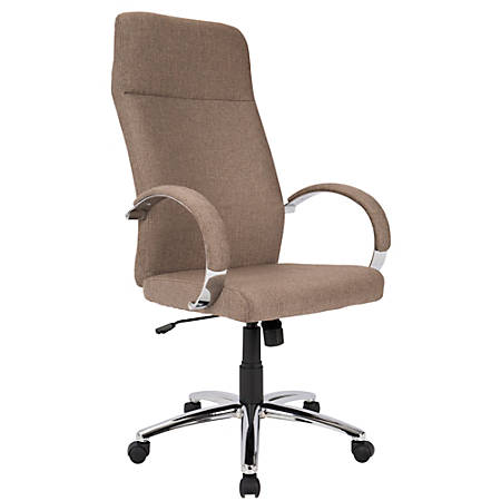 LumiSource Ambassador Fabric High-Back Office Chair, Brown/Chrome