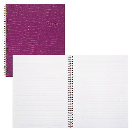 "Cambridge Large Trucco Croc Twin Wire Notebook, 9-1/4"" x 11"", 80 Sheets, Purple"