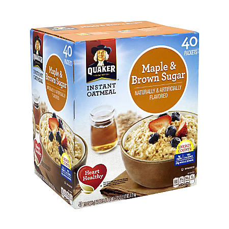 Quaker Instant Oatmeal Packets, Maple And Brown Sugar, Box Of 40 Packets