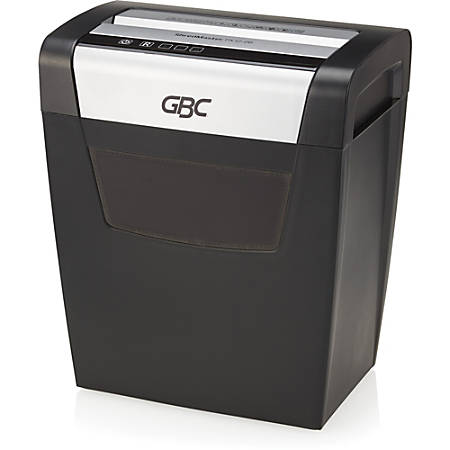 GBC ShredMaster PX12-06 Cross-Cut Paper Shredder - Non-continuous Shredder - Super Cross Cut - 10 Per Pass - for shredding Staples, Paper Clip - P-3 - 6 Minute Run Time - 6 gal Wastebin Capacity - Black, Chrome