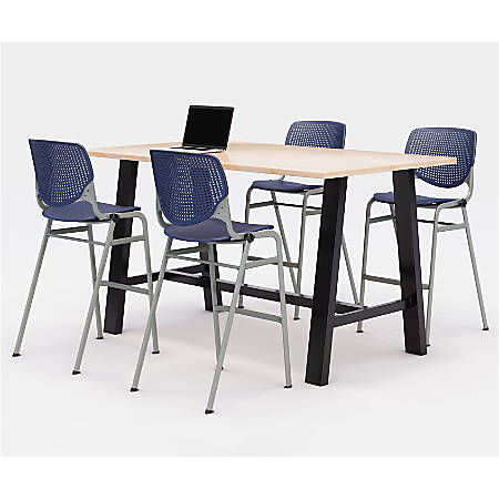"""KFI Midtown Bistro Table With 4 Stacking Chairs, 41""""H x 36""""W x 72""""D, Kensington Maple/Navy"""