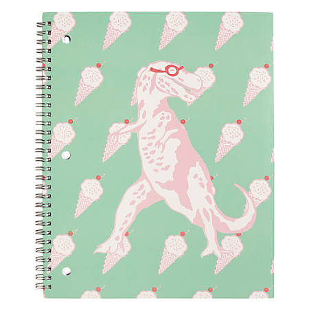 """Divoga® Happy Thoughts Spiral Notebook, 8 1/2"""" x 10 1/2"""", 1 Subject, Wide Ruled, 160 Pages (80 Sheets), Ice Cream Dinosaur"""