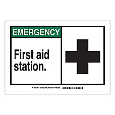 Brady EMERGENCY First Aid Station Sign
