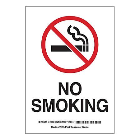 "Brady ""No Smoking"" Polystyrene Sign, 10"" x 7"", Multicolor"