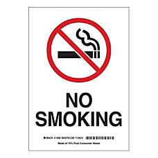 Brady No Smoking Polystyrene Sign 10