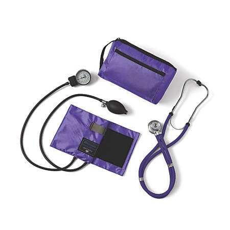 Medline Compli-Mates Handheld Aneroid Sphygmomanometer And Stethoscope Kit, Adult, Purple