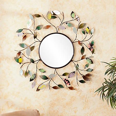 "Southern Enterprises Decorative Metallic Round Leaf Wall Mirror, 32 1/2"" x 2"", Multicolor"