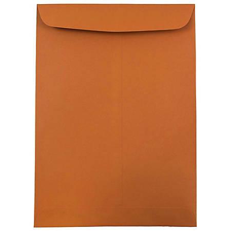 """JAM Paper® Open-End Catalog Envelopes With Gummed Closure, 9"""" x 12"""", Dark Orange, Pack Of 10"""