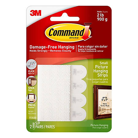 Command™ Damage-Free Picture Hanging Strips, Small, Yellow, Pack Of 4