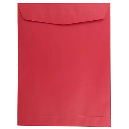 """JAM Paper® Open-End Catalog Envelopes With Gummed Closure, 9"""" x 12"""", 30% Recycled, Red, Pack Of 10"""