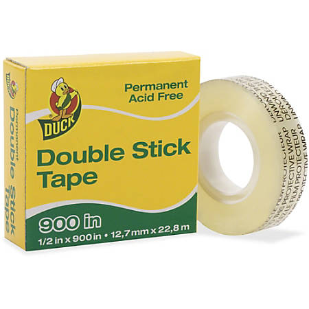 "Duck Brand Double-Stick Tape Dispenser Refill Roll, 1/2"" x 900"", Clear"