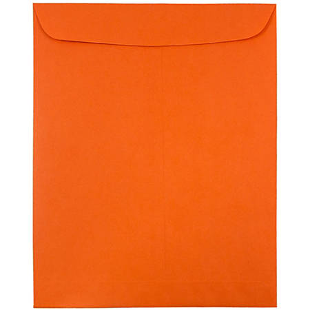 "JAM Paper® Open-End Catalog Envelopes With Gummed Closure, 9"" x 12"", 30% Recycled, Orange, Pack Of 10"