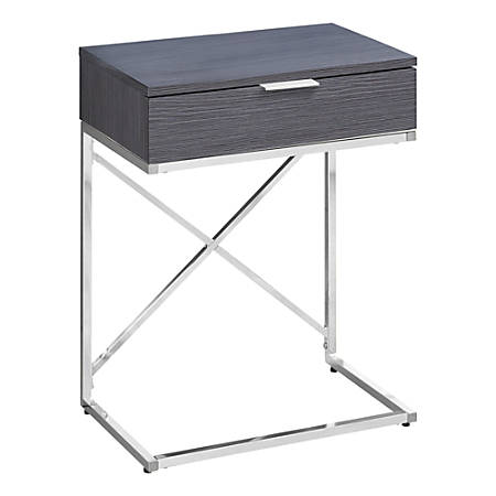 Monarch Specialties Accent End Table, Rectangular, Gray/Chrome