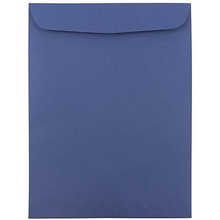 "JAM Paper® Open-End Catalog Envelopes With Gummed Closure, 9"" x 12"", Presidential Blue, Pack Of 10"