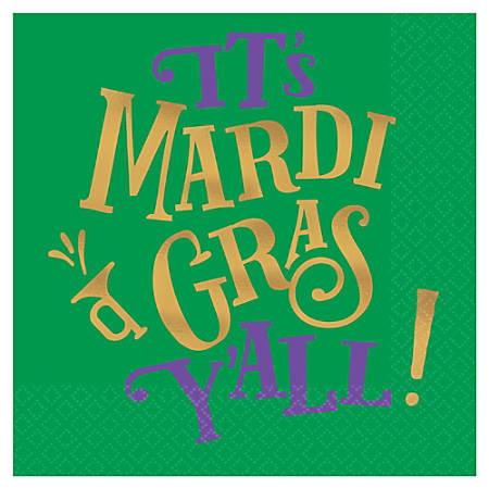 "Amscan Mardi Gras Y'all Beverage Napkins, 5"" x 5"", Green, 16 Napkins Per Pack, Set Of 4 Packs"