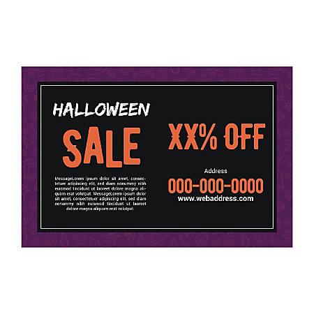 Plastic Sign Template, Purple Halloween, Horizontal