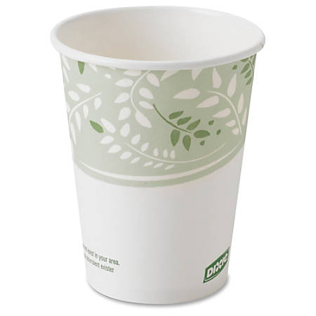 Dixie EcoSmart Viridian Paper Hot Cups - 8 fl oz - 1000 / Carton - White, Green - Paper, Polylactic Acid (PLA) - Hot Drink