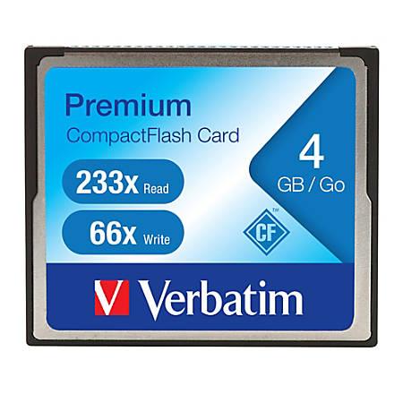 Verbatim 4GB 233X Premium CompactFlash Memory Card - 1 Card/1 Pack - Retail