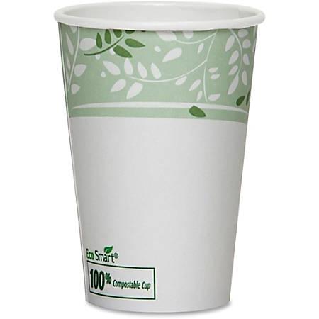 Dixie EcoSmart Viridian Paper Hot Cups - 12 fl oz - 1000 / Carton - White, Green - Paper - Hot Drink, Beverage