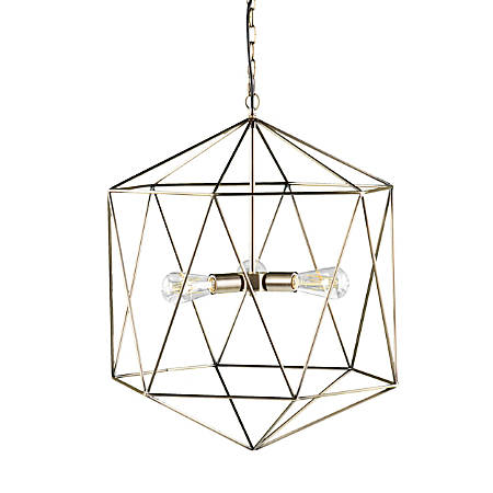 "Southern Enterprises Clardonia 3-Light Geometric Pendant Lamp, 26""H, Antique Bronze"
