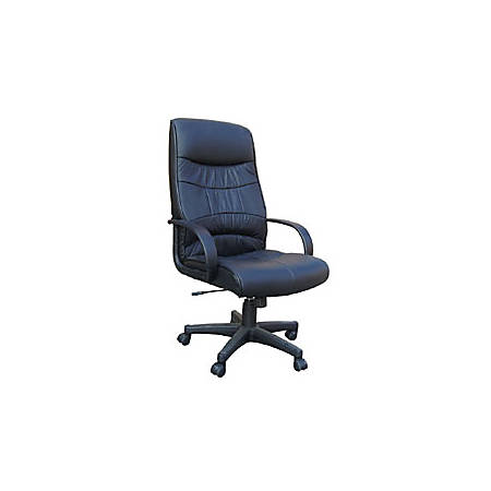 "OFM High-Back Leatherette Chair, 45""H x 26""W x 22""D, Black Frame"