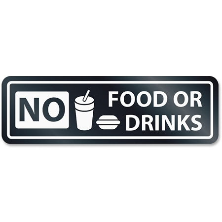 """HeadLine No Food Or Drinks Window Sign - 1 Each - NO FOOD OR DRINKS Print/Message - 2.5"""" Width x 8.5"""" Height - Rectangular Shape - Self-adhesive - White, Clear"""