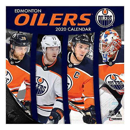 "Turner Licensing Monthly Wall Calendar, 12"" x 12"", Edmonton Oilers, 2020"