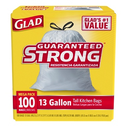 Glad Tall Kitchen Drawstring Trash Bags 13 Gallons 24 X 48 White Box Of 100 By Office Depot Officemax