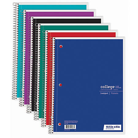 "Just Basics® Spiral Notebook, 7 1/2"" x 10 1/2"", 1 Subject, College Ruled, 70 Sheets, Assorted Colors"