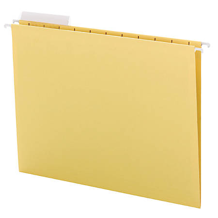"Smead® Colored Hanging Folders, 8 1/2"" x 11"", 10% Recycled, Yellow, Box Of 25"