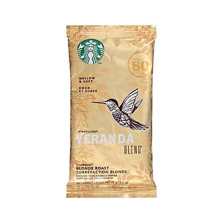 Starbucks Veranda Premium Blonde Ground Roast Coffee, 2.5 Oz, Box Of 18 Packets