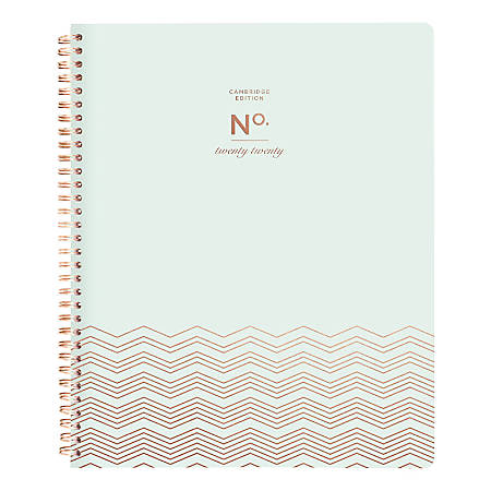 "Cambridge® WorkStyle Chevron Weekly/Monthly Planner, 8-1/2"" x 11"", Mint Senzo, January to December 2020"