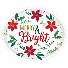 Amscan Christmas Wishes Oval Plates 12