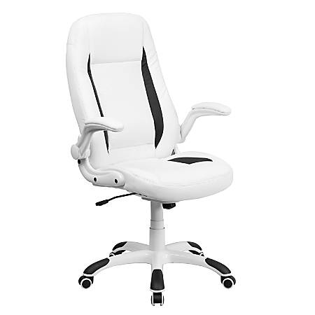 Flash Furniture Leather High-Back Swivel Chair, White/Black