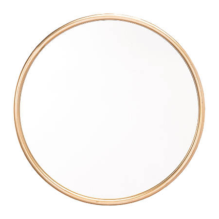 "Zuo Modern Ogee Round Mirror, Large, 15 15/16""H x 15 15/16""W x 1""D, Gold"