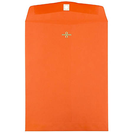 """JAM Paper® Open-End Catalog Envelopes With Clasp Closure, 10"""" x 13"""", 30% Recycled, Orange, Pack Of 10"""