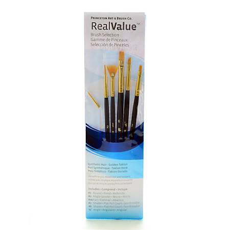 Princeton Real Value Paint Brush Set Series 9133, Nylon Bristles, Taklon, Blue, Set Of 6