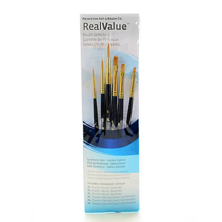 Princeton Real Value Paint Brush Set Series 9137, Round Bristle, Synthetic, Blue, Set Of 6