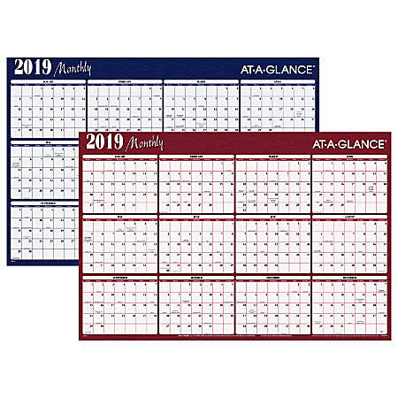 "AT-A-GLANCE® Horizontal Erasable Yearly Wall Planner, 48"" x 32"", Red/Blue, January to December 2019"