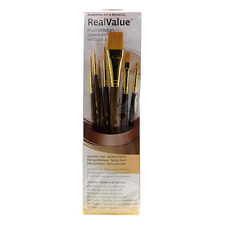 Princeton Real Value Short-Handled Brush Set Series 9141, Assorted Sizes, Assorted Bristles, Synthetic, Dark Brown, Set of 7
