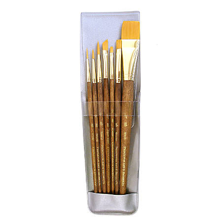 Princeton Real Value Short-Handled Brush Set Series 9143, assorted Bristles, Synthetic, Dark Brown, Set Of 7