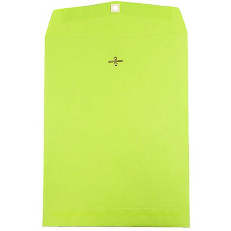 """JAM Paper® Open-End Catalog Envelopes With Clasp Closure, 10"""" x 13"""", Lime, Pack Of 10"""