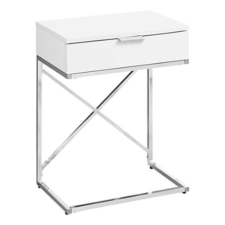Monarch Specialties Accent End Table, Rectangular, Glossy White/Chrome