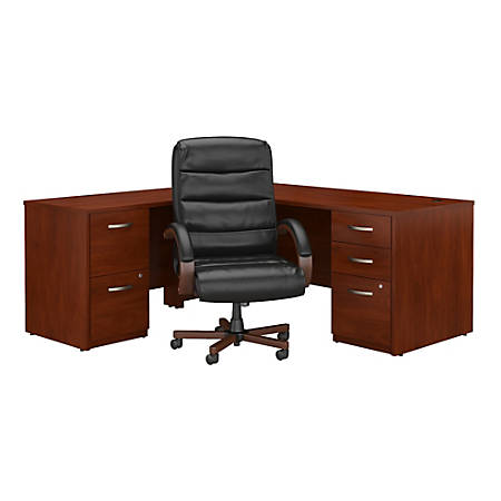 """Bush Business Furniture Components Elite 72""""W L Shaped Desk with File Cabinets and High Back Executive Office Chair, Hansen Cherry, Standard Delivery"""