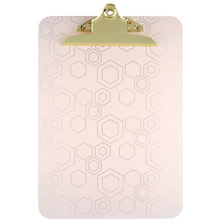 """Office Depot® Brand Decorative Clipboard, 12 1/2""""H x 9""""W x 1/4""""D, Blush Hexagon"""