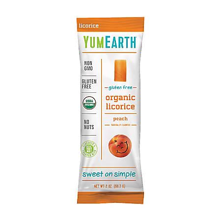 Yummy Earth Organic Gluten-Free Licorice, Peach, 2 Oz, Pack Of 12 Bags