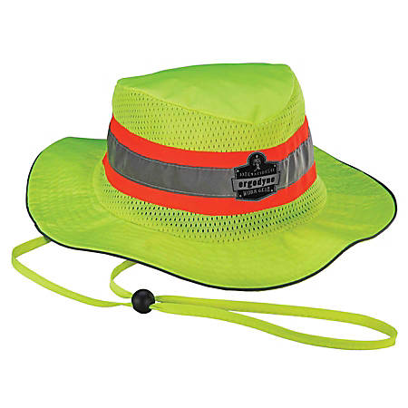 Ergodyne Chill-Its 8953CT Evaporative Class Headwear Hi-Vis Ranger Hat, Small/Medium, Lime