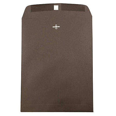 """JAM Paper® Open-End Catalog Envelopes With Clasp Closure, 10"""" x 13"""", 100% Recycled, Chocolate Brown, Pack Of 10"""