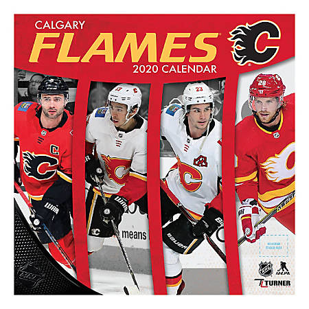 """Turner Licensing Monthly Wall Calendar, 12"""" x 12"""", Calgary Flames, 2020"""