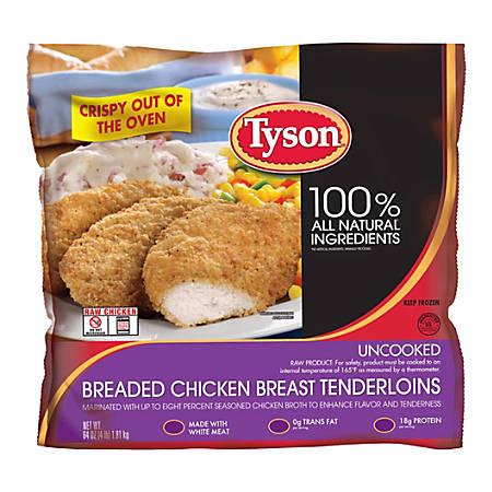 Tyson Uncooked Breaded Chicken Breast Tenderloins, 4-Lb Bag